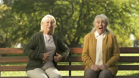 passerby : Two joyful senior women enjoying company of passerby people in park, elderly