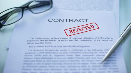 notarize : Contract rejected, officials hand stamping seal on business document, office