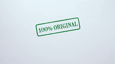 obdélníkový : 100 percent Original seal stamped on blank paper background food quality control