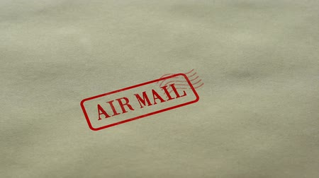 levelezés : Air Mail seal stamped on blank paper background, parcel delivery, transportation