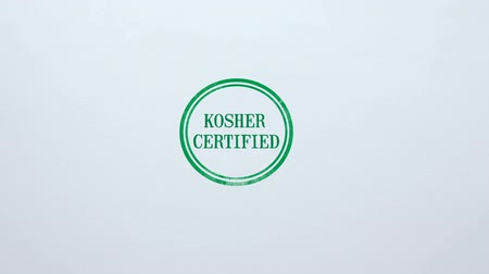 İbranice : Kosher Certified seal stamped on blank paper background, food quality control