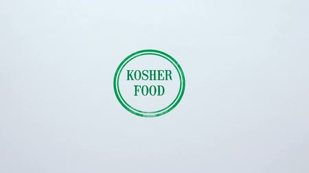 İbranice : Kosher Food seal stamped on blank paper background, nutrition quality control