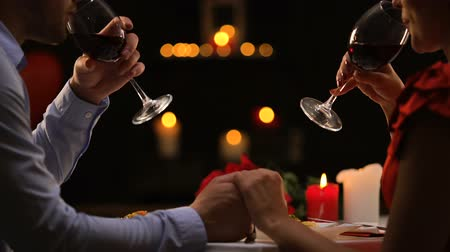 verführung : Couple tasting red wine in high-quality restaurant, winemaking traditions, date Videos