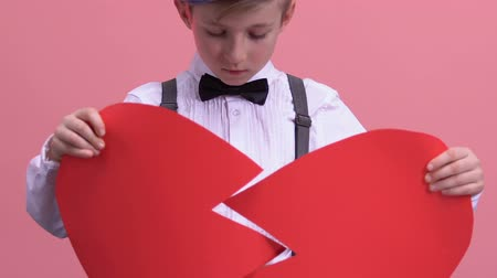heart failure : Unhappy young boy trying to fix broken heart, unrequited love, disappointment