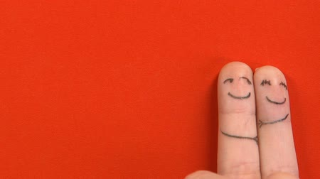 art : Sad finger face looking at romantic couple top view, love triangle, betrayal