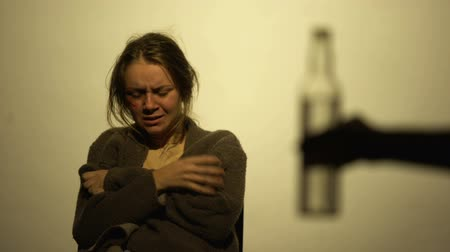 miserável : Alcoholic female suffering withdrawal syndrome, unwilling to drink, concept