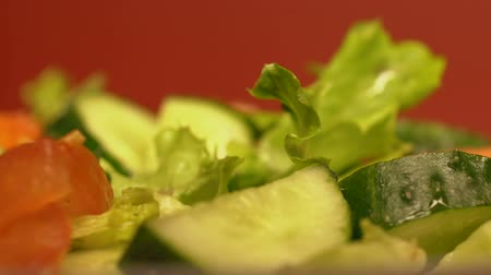 rajčata : Fresh salad with tomatoes, cucumbers and greens, organic healthy food, close up