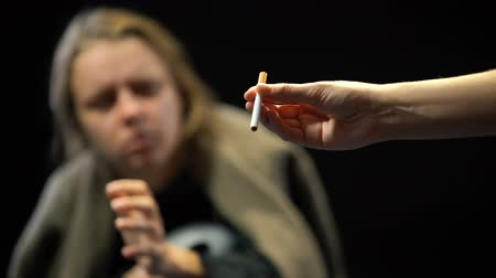 harmful habit : Poor homeless woman taking cigarette, nicotine addiction, harmful habit, cancer