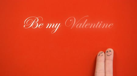 art : Be my Valentine phrase and hugging finger face pair on red background, concept