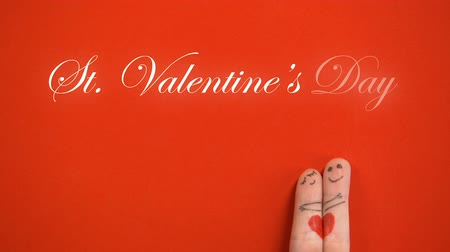 art : St Valentines Day phrase and hugging finger face couple on red background, love