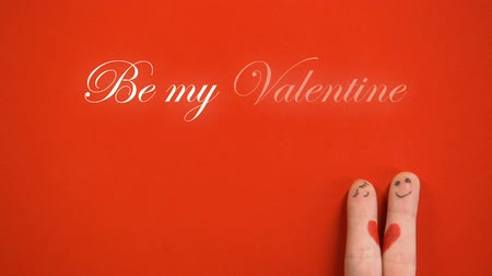 art : Be my Valentine phrase and joining together finger face couple on red background