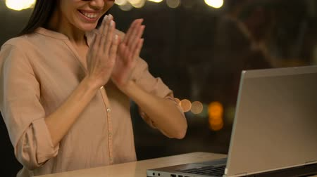 self promotion : Cheerful female typing message on dating website, getting job offer, promotion Stock Footage