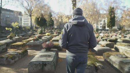 heaven and hell : Male tourist walking between graves on ancient historical cemetery, sightseeing Stock Footage