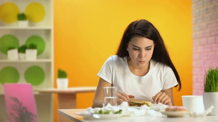 vomit : Overeating fast food woman feeling nausea, stale junk food, unhealthy nutrition