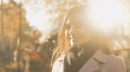 beginnings : Cheerful inspired young woman smiling, feeling new opportunities, social survey Stock Footage