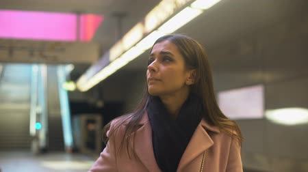 nervous : Anxious young woman missed train and late for work, everyday routine, commuter