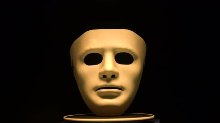 invisible : Anonymous mask isolated on black, illegal activity, conspiracy theory, incognito Stock Footage