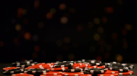 рулетка : Huge pile of poker chips on sparkling background, all-in betting, fortunate game