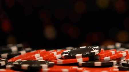 croupier : Poker chips lying on table in casino club, strategy of game, chance for luck
