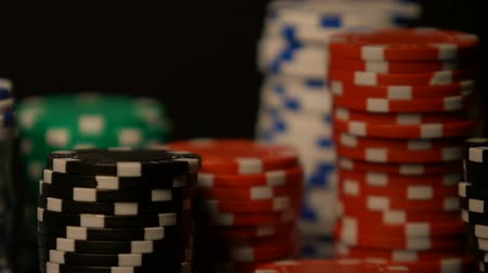croupier : Casino chip rows standing on table, winning big sum of money, poker bets Stock Footage