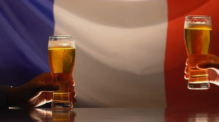 maltês : Male friends taking beer glasses, French flag on background, sports team support Stock Footage