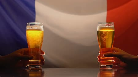 cervejaria : Two male friends holding beer glasses, French flag on background, sport fans Stock Footage