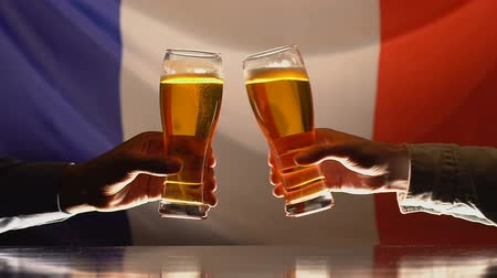 maltês : Male friends clinking glasses of beer, French flag on background, celebration Stock Footage
