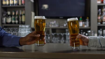 maltês : Two men clinking beer glasses at bar counter in pub, relaxation after work Stock Footage