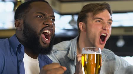 piwo : Happy male friends clinking beer glasses, watching match in bar, celebration Wideo
