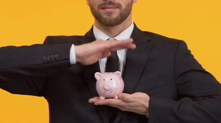 kumbara : Man holding piggy-bank on isolated background, financial transactions, deposits
