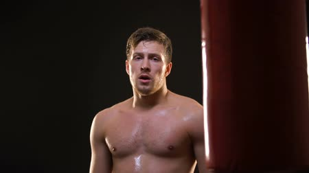 self injury : Sports man sweating after exhausted boxing training, success and motivation Stock Footage