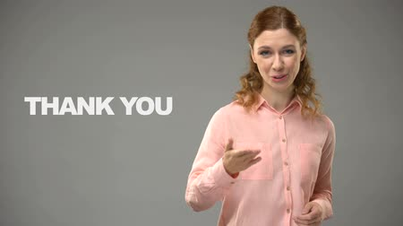 sayesinde : Woman saying thank you in sign language, text on background, communication