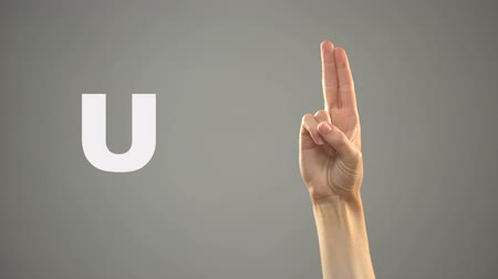 symbolic : Letter U in sign language, hand on background, communication for deaf, lesson Stock Footage
