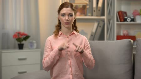 deafness : Female signing I cannot speak in sign language, communication for disabled