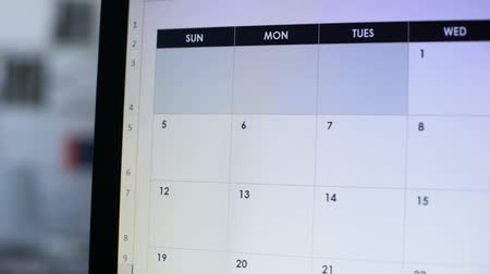 semanal : Person planning vacation, making note in online calendar on pc, holiday trip Stock Footage