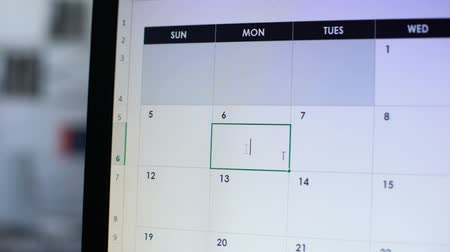 hatırlatmak : Person planning business trip, making note in calendar on pc, time-management