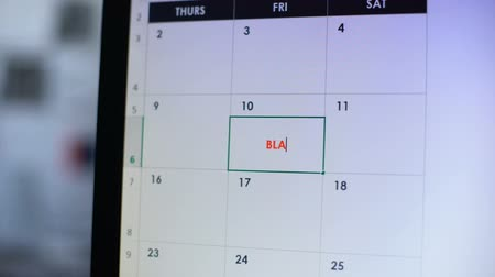 semanal : Black Friday scheduled in online calendar, person planning big shopping, sales Vídeos