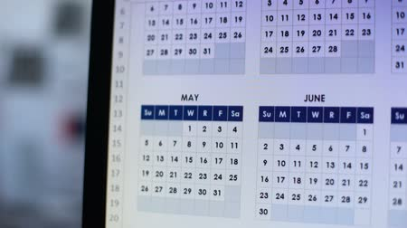 planilha : Person looking through calendar on pc, planning annual lending, installment