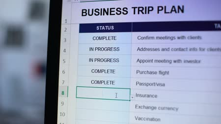 táblázatkezelő : Person making complete status to one task of business trip plan, readiness