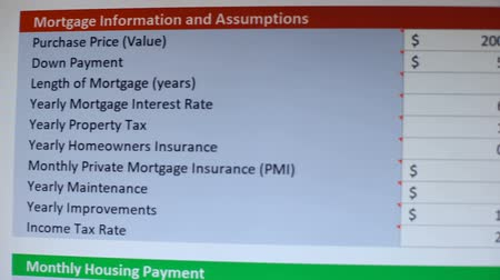 mensal : Person studying mortgage information and assumptions online on pc, bookkeeping