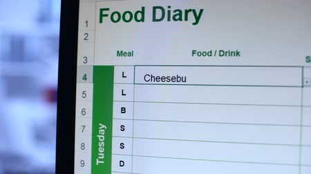 чизбургер : Person filling in online food diary writing meals and counting calories, dieting Стоковые видеозаписи