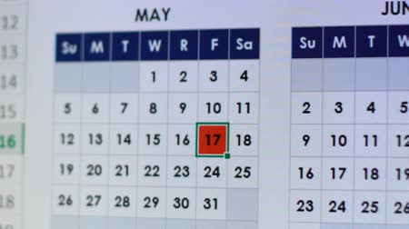 priority : Calendar day marked in red, reminder of meeting or holiday, online planner Stock Footage