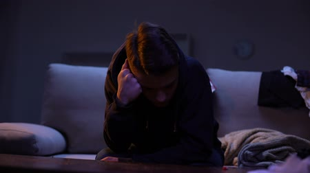 aşırı doz : Drug intoxicated teenager falling asleep, feeling dizziness, dangerous addiction