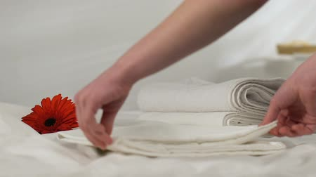 arrumado : Chambermaid taking towels from hotel room, flower on fresh bed-linen, service