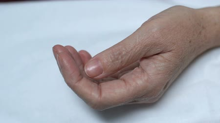 prescribe : Close up of old female hand with medicines, treatment in elderly age, health