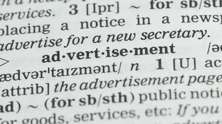 glossary : Advertisement, pencil pointing word in vocabulary in english, marketing strategy