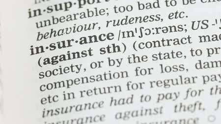 terminology : Insurance, meaning written in english vocabulary, health and property protection