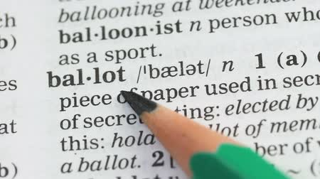 anlamı : Ballot word meaning in vocabulary, presidential elections and democracy, vote