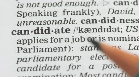 anlamı : Candidate, student opening vocabulary page, presidential election campaign