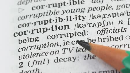 transcription : Corruption word in english vocabulary, lawbreaking activity and bribe taking
